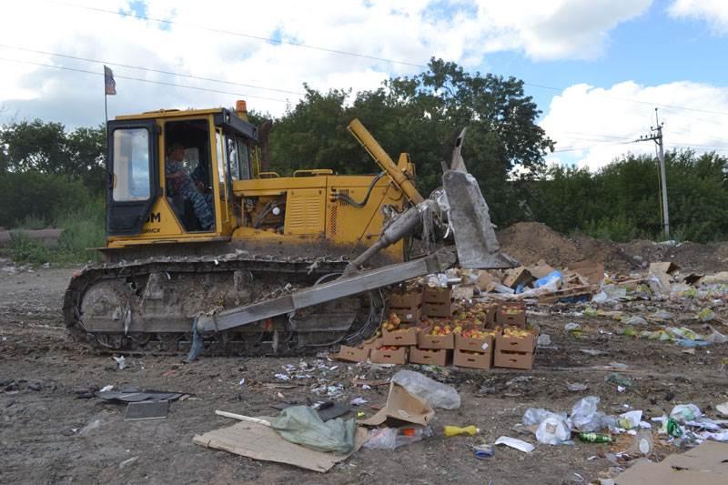 В Новосибирске под бульдозер попали 650 кг яблок