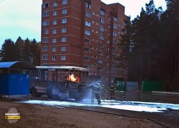 Под Новосибирском сгорел рейсовый автобус