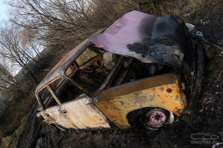 Полицейские нашли в Линево сожженную «копейку»