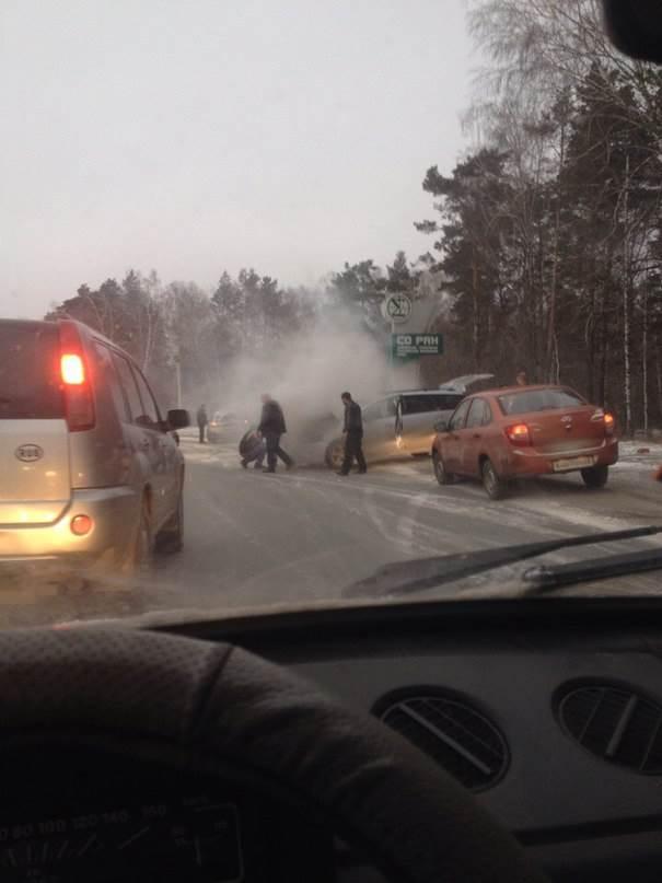 ФОТОФАКТ: Воспламенилось автоодеяло у автомобилиста на трассе