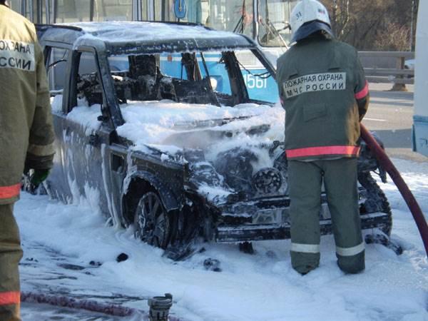 Rover сгорел в Искитиме