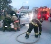 Hyundai Tucson загорелся в Бердске во время движения