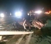 Лобовое столкновение автомобилей на трассе М-52 под Бердском