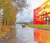 Водители Бердска вновь жалуются на огромную лужу за ТЦ «Астор»