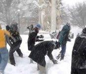 Новосибирцев возмутили дети, игравшие в снежки возле проезжей части (видео)