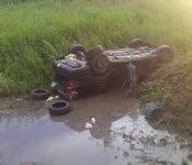 Фотофакт: В Речкуновке слетел с трассы и перевернулся автомобиль