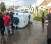 УАЗик роты ППС попал в ДТП в Бердске и перевернулся. Пострадавших нет