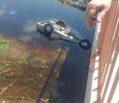 В селе Криводановка Новосибирской области Honda с людьми упал в реку