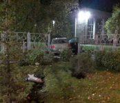 «Пежо» пропахал газон в центре Бердска и сбил ограждения