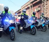 Байкеры от ГИБДД несут службу на дорогах Новосибирска