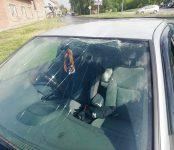Разбила вырванная в ураган ветка тополя ехавший Nissan Sunny по ул. Комсомольской в Бердске