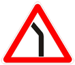 Знак 1.11.2 Опасный поворот (левый)